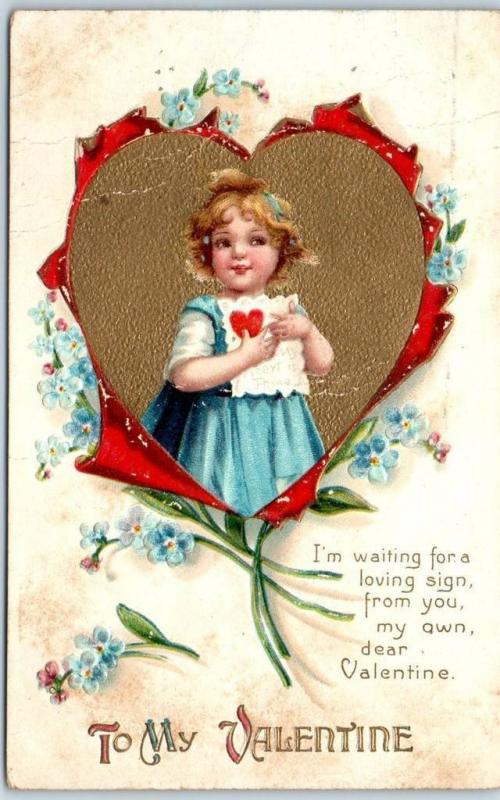 Vintage Valentine S Day Embossed Postcard Little Girl Ripped Heart