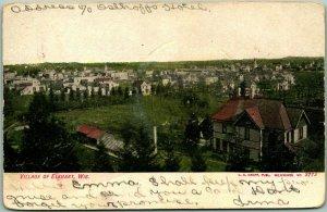 Vintage 1907 Wisconsin Postcard VILLAGE OF ELKHART Bird's-Eye Panorama View