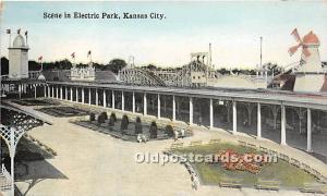 Kansas City, Missouri, MO, USA Postcard Scene in Electric Park Unused