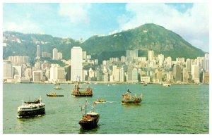 Central District And Boats Hong Kong Postcard PC1052