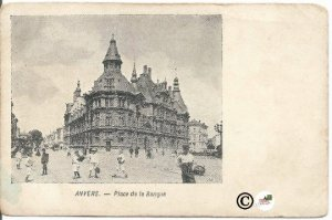 Photograph of Bank in Antwerp Belgium pre 1907 Undivided Back Postcard Vintag