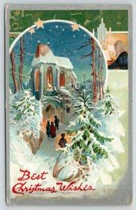 TUCK Christmas~Congregants Stream into Night Church~Gent Plays Organ~Emboss~1908