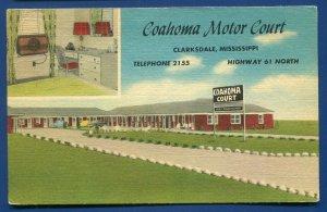 Coahoma motor Court Clarksdale Mississippi ms linen postcard