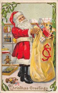 E34/ Santa Claus Merry Christmas Holiday Postcard 227F Toy Sack Initials 17
