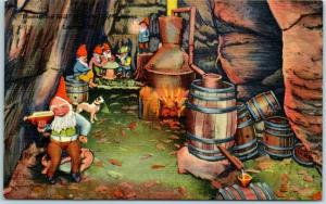 1940s ROCK CITY GARDENS Postcard Moonshine Still Scene w/ Gnomes - Linen