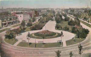 Kansas City Missouri~Paseo~Birdseye Handcolored~1906 Postcard