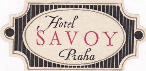 Czechoslovakia Praha Hotel Savoy Vintage Luggage Label sk4421
