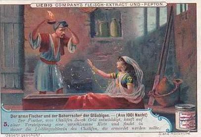 Liebig Vintage Trade Card S640 The Poor Fisherman &The Caliph 1001 Knights No 5