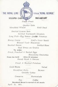 MENU , T.T.S.S. ROYAL GEORGE , Second Cabin - Breakfast, 1911
