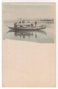 Covered Boat Yanebune Japan 1905c hand colored postcard