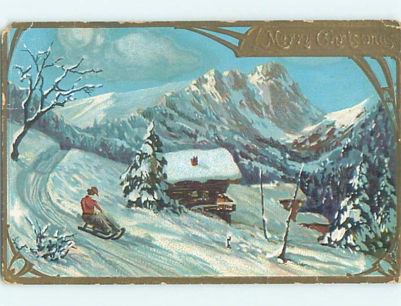 Divided-Back christmas WOMAN IN DRESS RIDES DOWN HILL ON TOBOGGAN SLED o4021