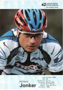 USPS Pro Cycling Team - Post Card - Patrick Jonker - Mint