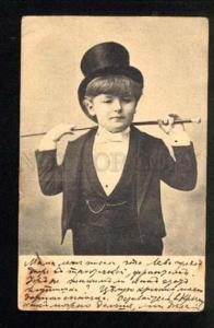 047312 Boy in TOP HAT as Dandy vintage Photo type