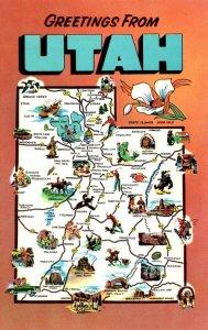 Map Of Utah With Greetings