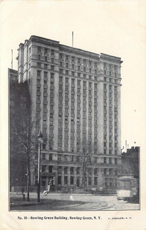 Bowling Green NY~16-Story Building~Big Trolley on Circle c1906 Koehler Postcard