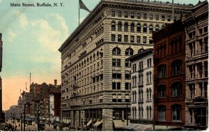 Buffalo, New York - A view of downtown on Main Street - c1908