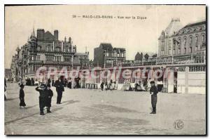 Old Postcard Malo Les Bains view on La Digue