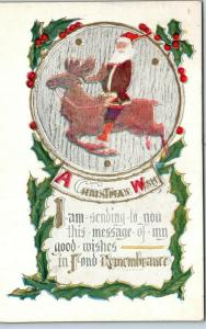 Vintage SANTA CLAUS Postcard Red Suit, Riding Reindeer A CHRISTMAS WISH 1914