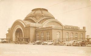 Tacoma Washington~Union Station~1930s Gangster Cars Postcard RPPC