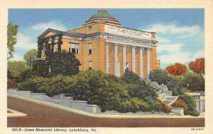 LYNCHBURG VIRGINIA~GEORGE MORGAN JONES MEMORIAL LIBRARY POSTCARD 1940s