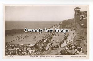 tq1572 - Lancs - Cliffs, Parade & Boating Lake c1951, N.S. Blackpool - postcard