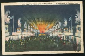 Great lakes Exposition Court of the Presidents Night Cleveland OH Curteich Linen