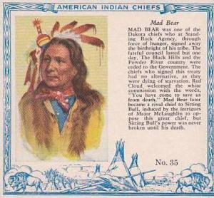 Red Man Chewing Tobacco American Indian Chiefs No 35 Mad Bear Dakota Tribe