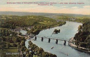 Birds Eye View Of Schuylkill River Taken From Balloon 1 Mile High Showing Reg...