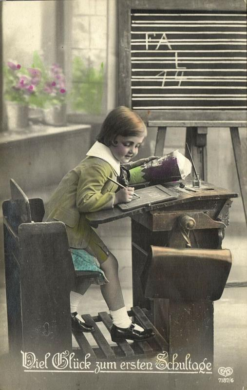 First Schoolday, Young Edwardian Girl with School Cone (1910s) RPPC Postcard