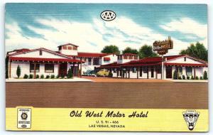 Postcard NV Las Vegas Old West Motor Hotel Motel Vintage Linen