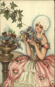 Chiostri #202 Beautiful Woman Powdered Wig Flowers c1920s Postcard