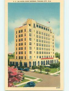 Unused Linen OLD CARS & DIXIE SHERMAN HOTEL Panama City Florida FL u8521