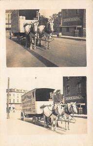 William Howard Piano & Furniture Moving Storage Horses & Wagon RPPC Postcard