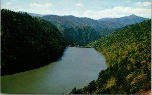 Calderwood Lake and Dam TN Smokey Mountains Postcard used 1955