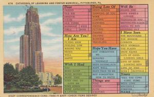 Humour Busy Persons Correspondence Card Cathedral Of Learning Pittsburgh 1945...