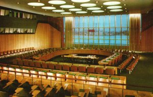 Vintage Postcard United Nations Headquarter Economic and Social Council Chamber