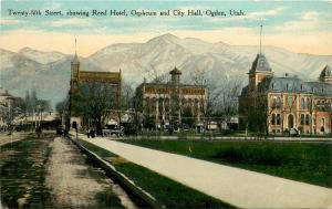 Postcard 25th Street Showing Reed Hotel, Orpheum Theater & City Hall Ogden UT