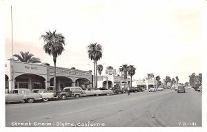 Blythe CA Street View Post Office Store Fronts Woodie Old Cars RPPC Postcard