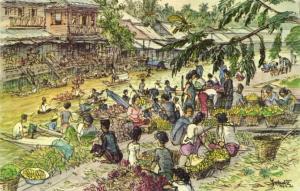 thailand, THONBURI, Fruit Market (1962) N. Yokota