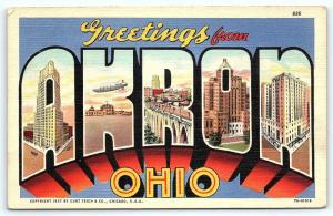 Postcard OH Akron Large Letter Greetings from Akron Ohio