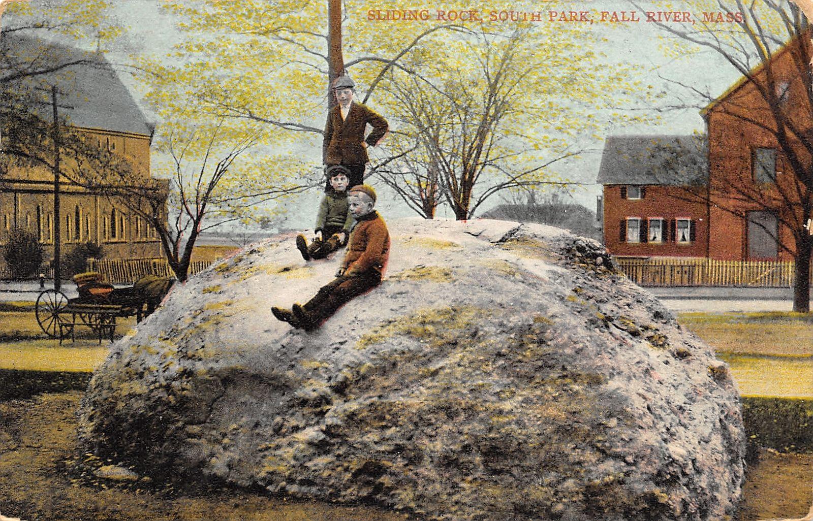 Fall River MA Boys on Sliding Rock~Kennedy Park~Church (Torn Down