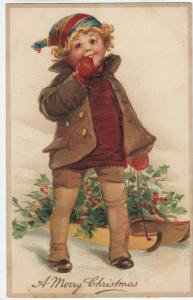 BRUNDAGE (FB) ; Child & Sled , CHRISTMAS, 1900-10s ; TUCK