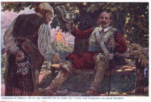 Bolfslieder In Bildern Antique German Painting Postcard