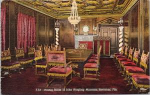 Dining Room Ringling Mansion Sarasota FL Florida Unused Linen Postcard D60