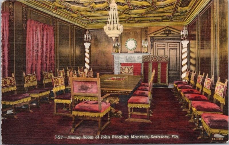 Dining Room Ringling Mansion Sarasota FL Florida Unused Linen Postcard D60