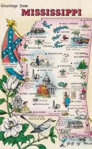 Greetings from MISSISSIPPI, PU-1962; Map, State Flower, Bird