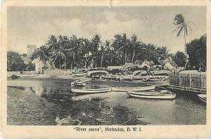 River Scene in Barbados B.W.I. White Border