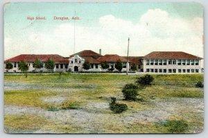 Douglas Arizona~Mission Style High School~View Across Barren Field~1915 Postcard