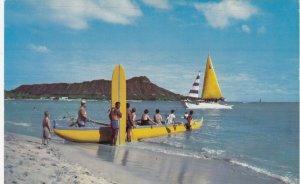WAIKIKI, Oahu, Hawaii, 40-60s; Beach Boat