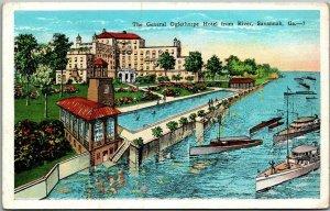 Savannah, Georgia Postcard The General Oglethorpe Hotel from River Kropp 1930s